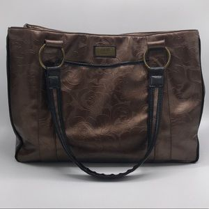 Gigi Hill New York Metallic Brown Large Tote Bag
